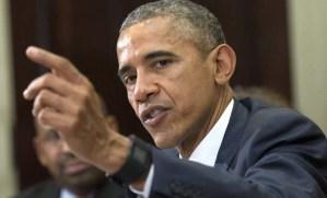 WA02. WASHINGTON (ESTADOS UNIDOS). El presidente de Estados Unidos, Barack Obama habla a la prensa hoy, miércoles 25 de marzo, durante una reunión con oficiales locales electos y pequeños exportadores en la Casa Blanca en Washington (Estados Unidos). EFE/KEVIN DIETSCH/POOL  EEUU OBAMA